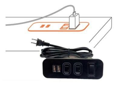 2孔插座+2USB充電孔+斷電保護開關